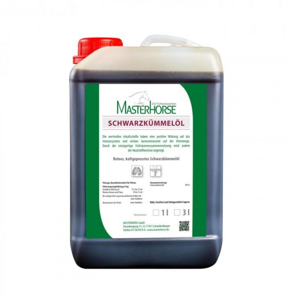 MASTERHORSE Schwarzkümmelöl Paket - 3 Liter inkl. Auslaufhahn