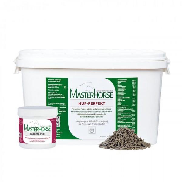 MASTERHORSE HUF-PAKET - 4,5 kg HUF-PERFEKT + 250 ml LORBEER-PUR