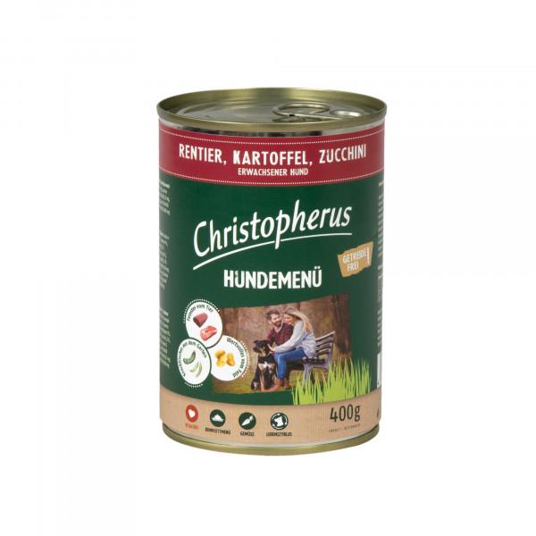 Christopherus Hundemenü mit Rentier, Kartoffel, Zucchini